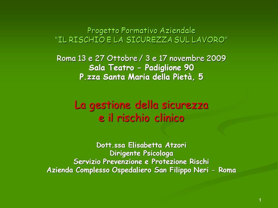 1 Progetto Formativo Aziendale IL RISCHIO E LA SICUREZZA SUL LAVORO Roma 13 e 27 Ottobre / 3 e 17 novembre 2009 Sala Teatro - Padiglione 90 P.zza Sant