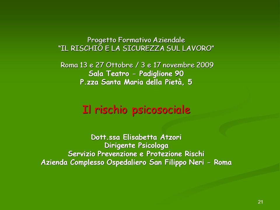 21 Progetto Formativo Aziendale IL RISCHIO E LA SICUREZZA SUL LAVORO Roma 13 e 27 Ottobre / 3 e 17 novembre 2009 Sala Teatro - Padiglione 90 P.zza San