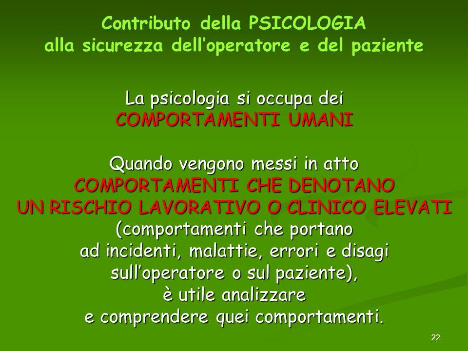 22 La psicologia si occupa dei COMPORTAMENTI UMANI Quando vengono messi in atto COMPORTAMENTI CHE DENOTANO UN RISCHIO LAVORATIVO O CLINICO ELEVATI (co