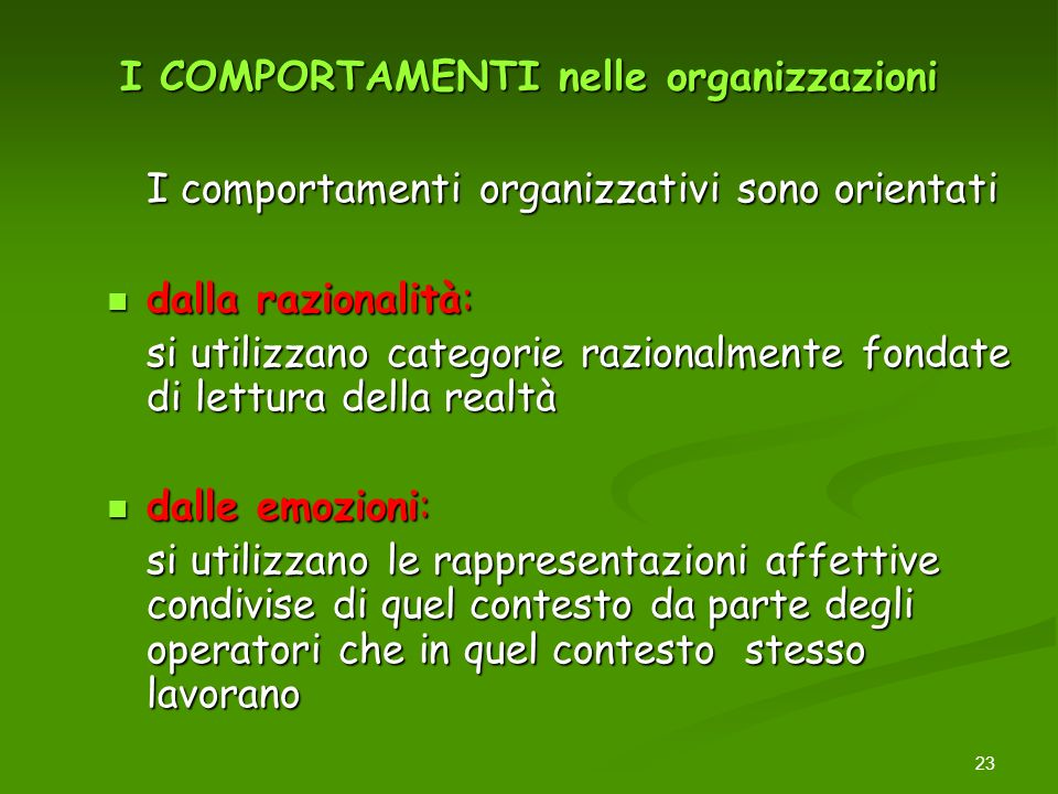 23 I COMPORTAMENTI nelle organizzazioni I comportamenti organizzativi sono orientati dalla razionalità: dalla razionalità: si utilizzano categorie raz