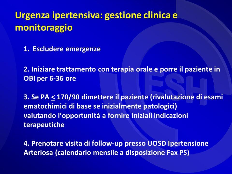 Urgenza ipertensiva: gestione clinica e monitoraggio 1. Escludere emergenze 2. Iniziare trattamento con terapia orale e porre il paziente in OBI per 6