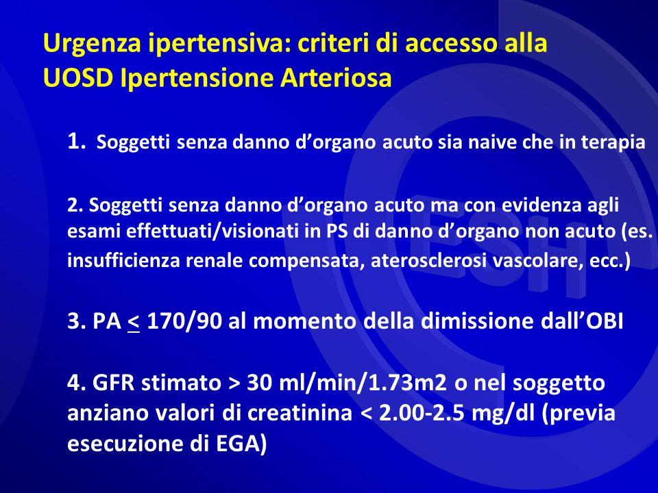 Urgenza ipertensiva: criteri di accesso alla UOSD Ipertensione Arteriosa 1. Soggetti senza danno dorgano acuto sia naive che in terapia 2. Soggetti se