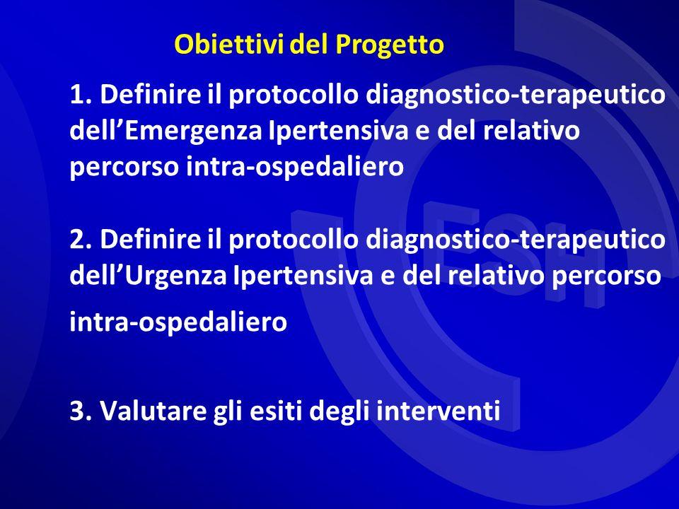 1. Definire il protocollo diagnostico-terapeutico dellEmergenza Ipertensiva e del relativo percorso intra-ospedaliero 2. Definire il protocollo diagno