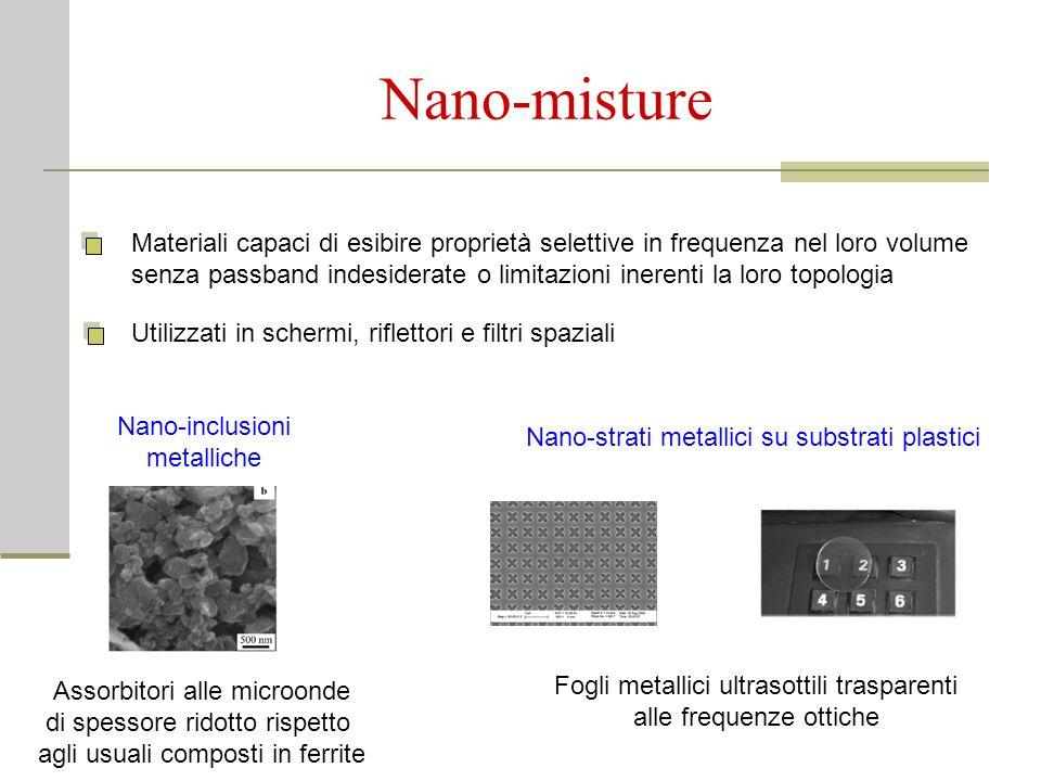 Nano-misture Materiali capaci di esibire proprietà selettive in frequenza nel loro volume senza passband indesiderate o limitazioni inerenti la loro t