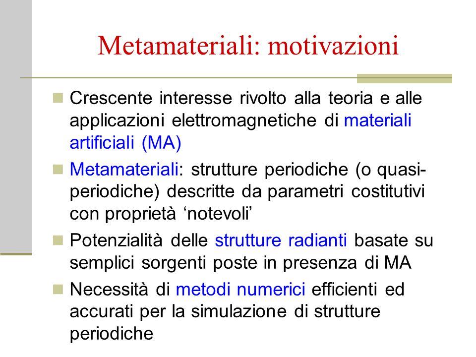 Metamateriali: motivazioni Crescente interesse rivolto alla teoria e alle applicazioni elettromagnetiche di materiali artificiali (MA) Metamateriali: