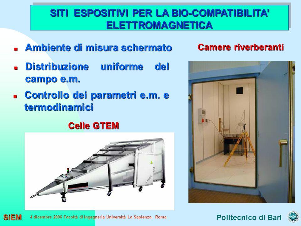 Politecnico di Bari SiEM 4 dicembre 2006 Facoltà di Ingegneria Università La Sapienza, Roma SITI ESPOSITIVI PER LA BIO-COMPATIBILITA ELETTROMAGNETICA