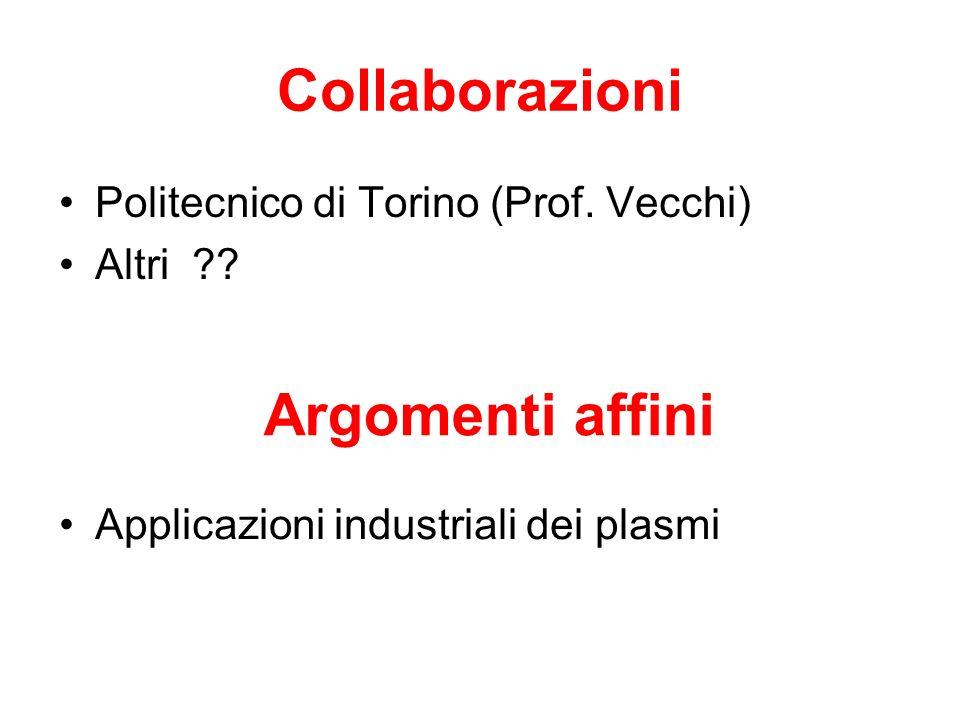 Collaborazioni Politecnico di Torino (Prof. Vecchi) Altri ?? Argomenti affini Applicazioni industriali dei plasmi