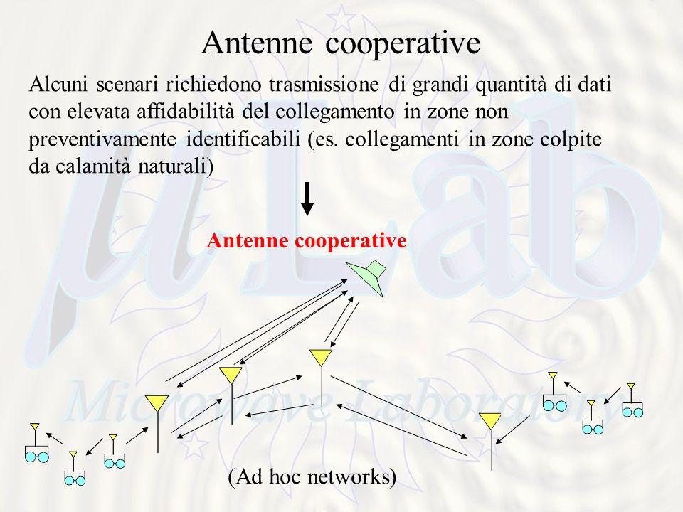 Antenne cooperative Alcuni scenari richiedono trasmissione di grandi quantità di dati con elevata affidabilità del collegamento in zone non preventivamente identificabili (es.