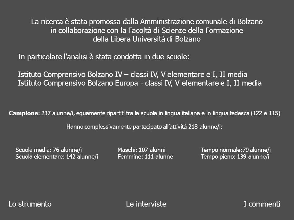 Lo strumentoLe interviste I commenti La ricerca è stata promossa dalla Amministrazione comunale di Bolzano in collaborazione con la Facoltà di Scienze