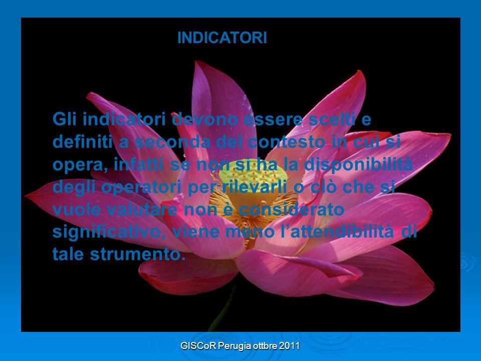 GISCoR Perugia ottbre 2011 INDICATORI Gli indicatori devono essere scelti e definiti a seconda del contesto in cui si opera, infatti se non si ha la disponibilità degli operatori per rilevarli o ciò che si vuole valutare non è considerato significativo, viene meno lattendibilità di tale strumento.