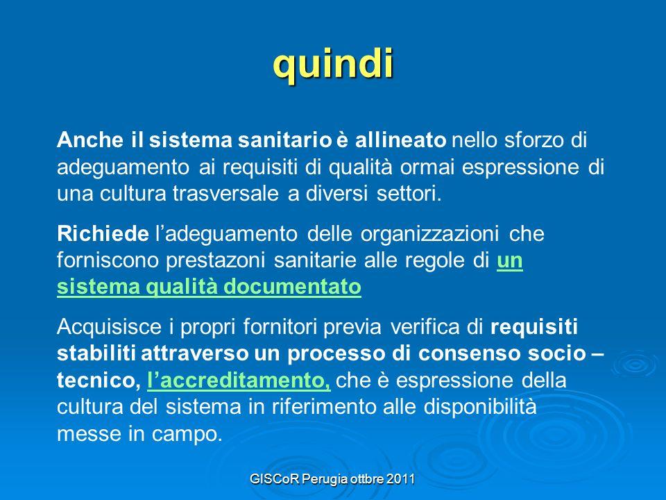 GISCoR Perugia ottbre 2011 quindi Anche il sistema sanitario è allineato nello sforzo di adeguamento ai requisiti di qualità ormai espressione di una cultura trasversale a diversi settori.
