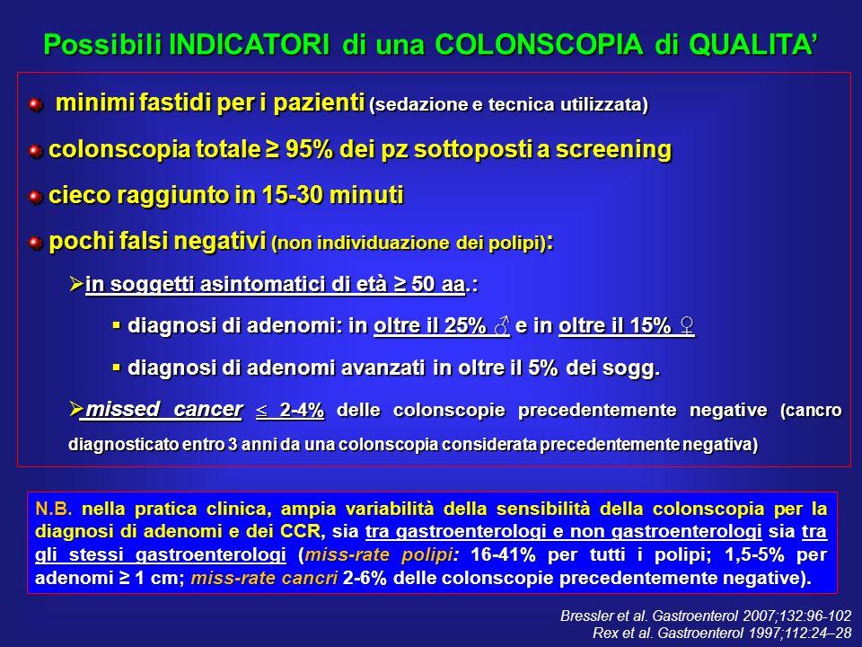 minimi fastidi per i pazienti (sedazione e tecnica utilizzata) minimi fastidi per i pazienti (sedazione e tecnica utilizzata) colonscopia totale 95% d