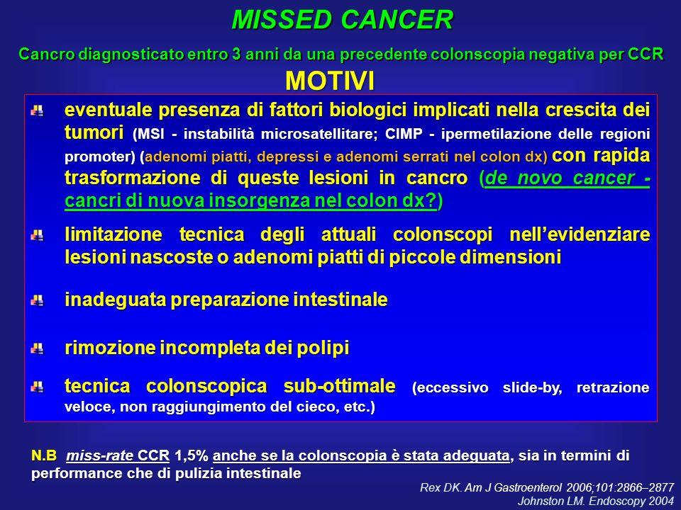 eventuale presenza di fattori biologici implicati nella crescita dei tumori (MSI - instabilità microsatellitare; CIMP - ipermetilazione delle regioni