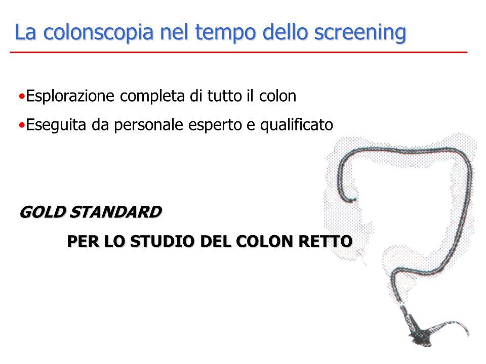 La colonscopia nel tempo dello screening Esplorazione completa di tutto il colon Eseguita da personale esperto e qualificato GOLD STANDARD PER LO STUD
