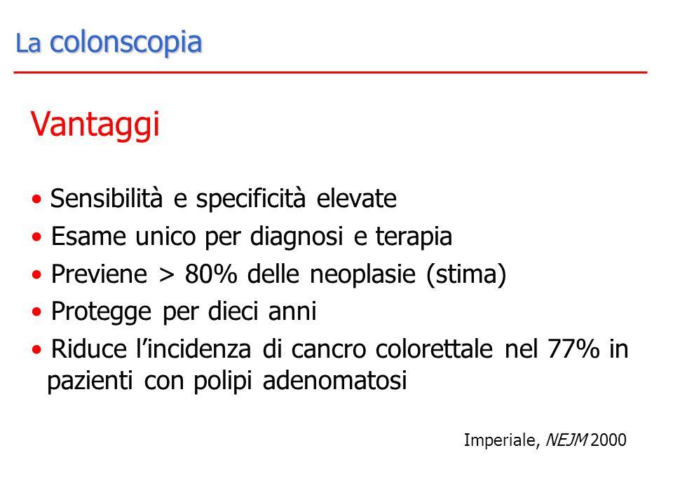 La colonscopia La colonscopia Sensibilità e specificità elevate Esame unico per diagnosi e terapia Previene > 80% delle neoplasie (stima) Protegge per