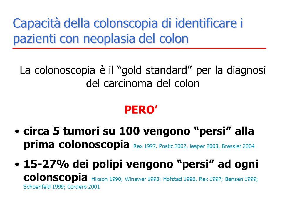 Capacità della colonscopia di identificare i pazienti con neoplasia del colon La colonoscopia è il gold standard per la diagnosi del carcinoma del col