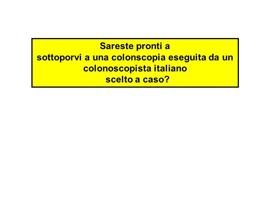 Sareste pronti a sottoporvi a una colonscopia eseguita da un colonoscopista italiano scelto a caso?