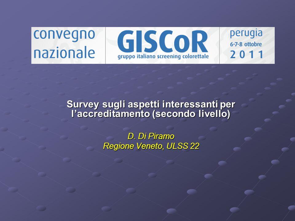 Survey sugli aspetti interessanti per laccreditamento (secondo livello) D. Di Piramo Regione Veneto, ULSS 22
