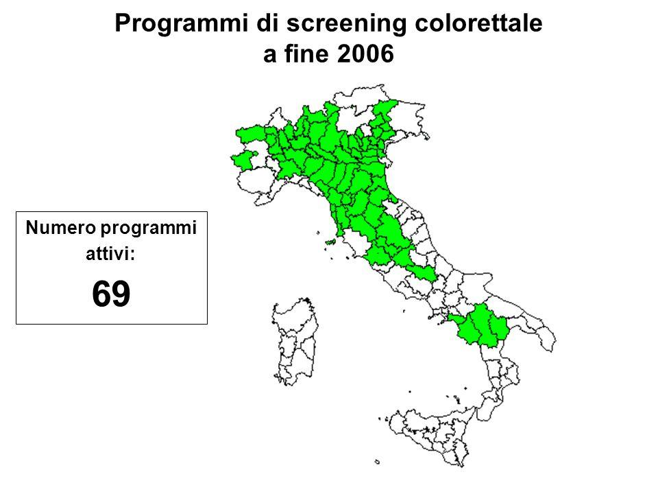 Programmi di screening colorettale a fine 2006 Numero programmi attivi: 69