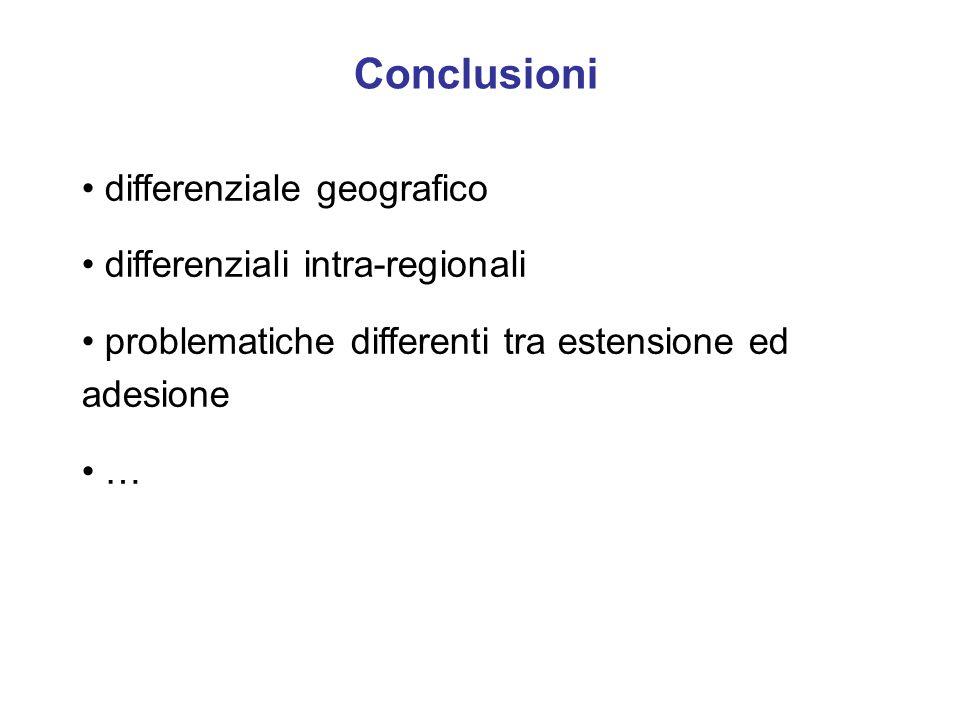 Conclusioni differenziale geografico differenziali intra-regionali problematiche differenti tra estensione ed adesione …