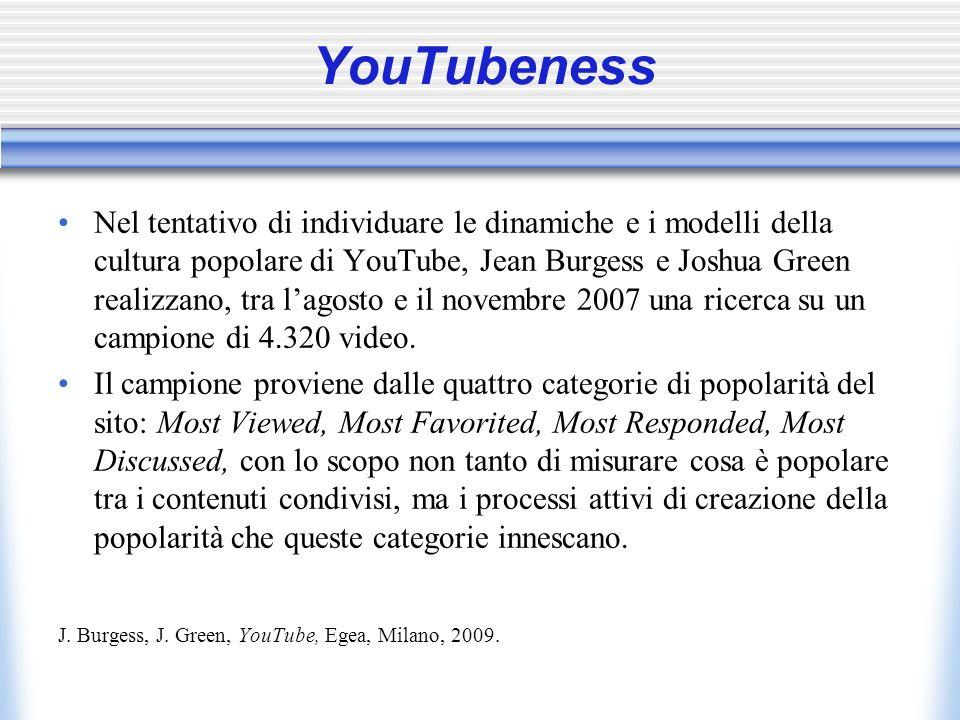 YouTubeness Nel tentativo di individuare le dinamiche e i modelli della cultura popolare di YouTube, Jean Burgess e Joshua Green realizzano, tra lagosto e il novembre 2007 una ricerca su un campione di 4.320 video.