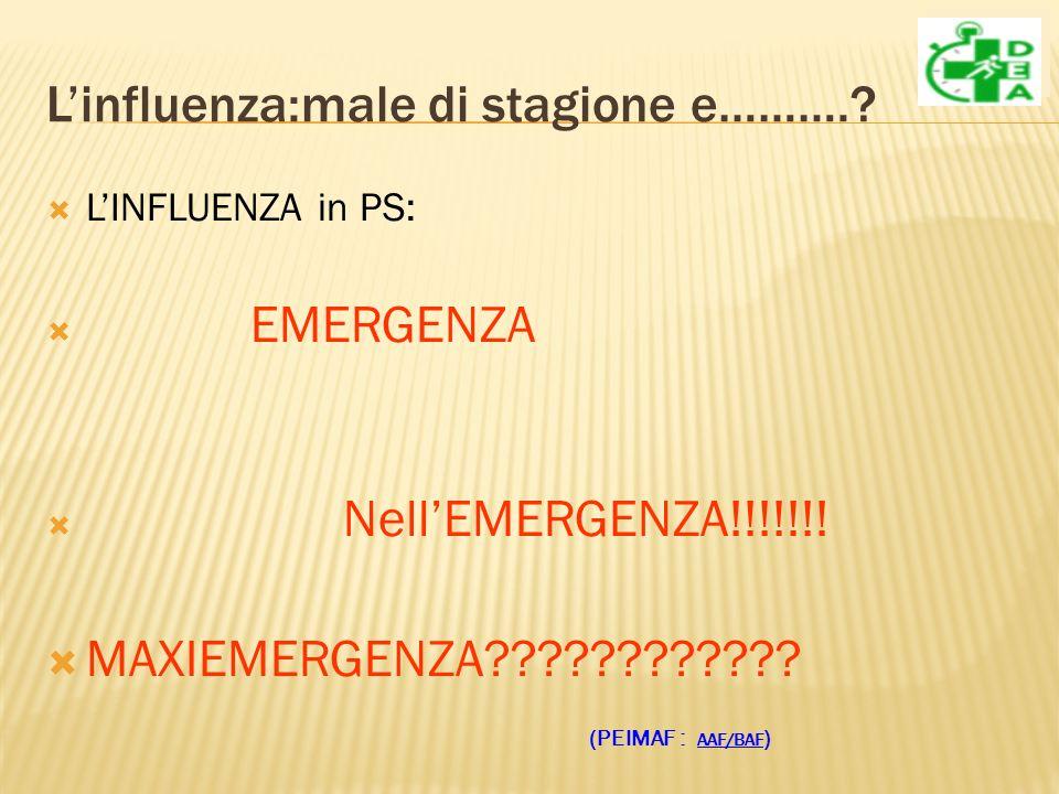 Linfluenza:male di stagione e………..LINFLUENZA in PS: EMERGENZA NellEMERGENZA!!!!!!.