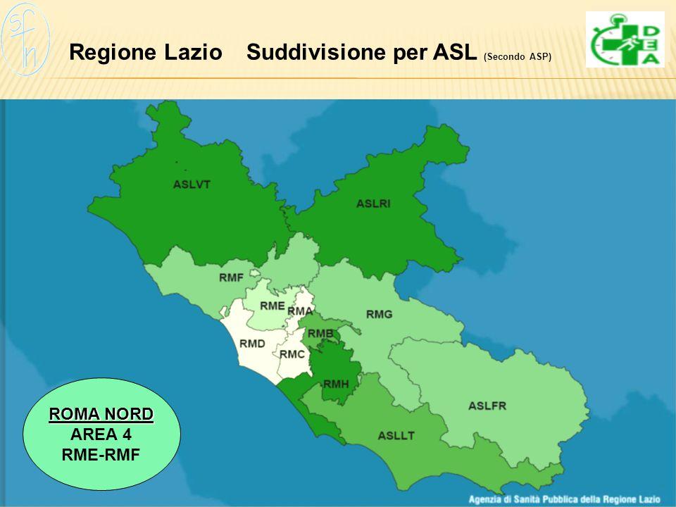 Regione Lazio Suddivisione per ASL (Secondo ASP) ROMA NORD AREA 4 RME-RMF