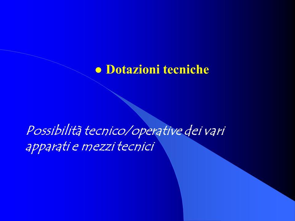 Possibilità tecnico/operative dei vari apparati e mezzi tecnici l Dotazioni tecniche
