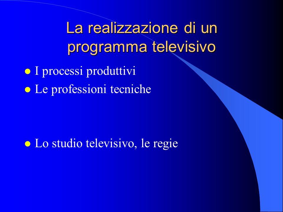 La realizzazione di un programma televisivo l I processi produttivi l Le professioni tecniche l Lo studio televisivo, le regie