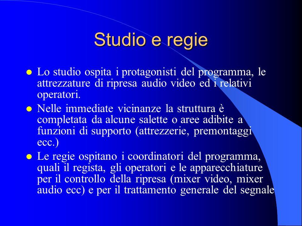 Studio e regie l Lo studio ospita i protagonisti del programma, le attrezzature di ripresa audio video ed i relativi operatori.