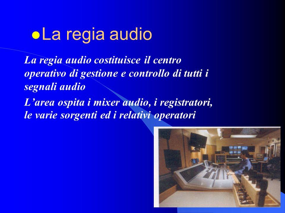 La regia audio costituisce il centro operativo di gestione e controllo di tutti i segnali audio Larea ospita i mixer audio, i registratori, le varie sorgenti ed i relativi operatori l La regia audio