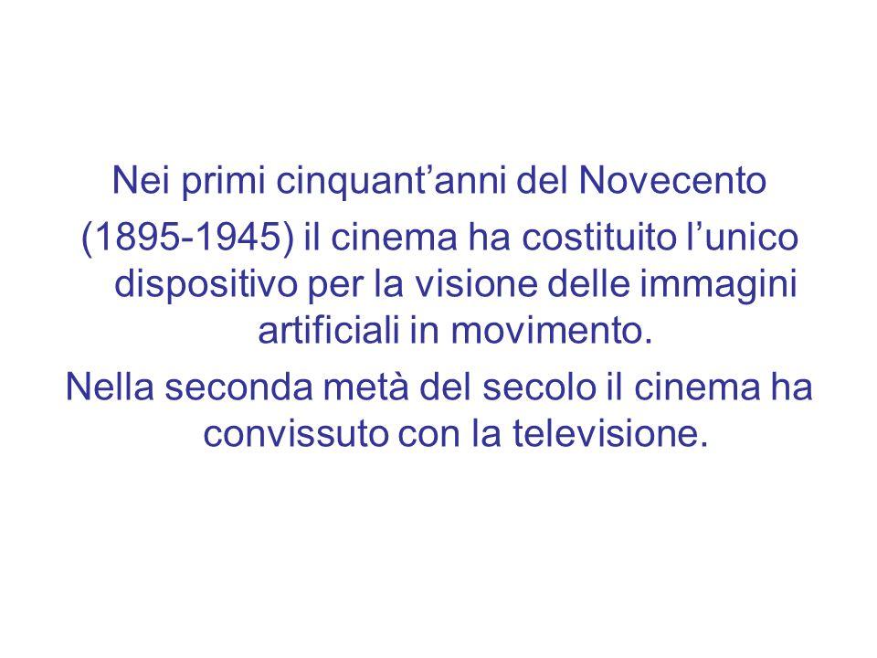 Nei primi cinquantanni del Novecento (1895-1945) il cinema ha costituito lunico dispositivo per la visione delle immagini artificiali in movimento.