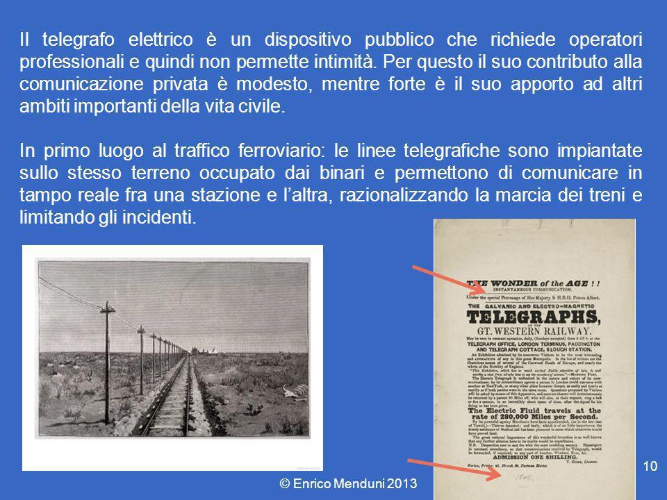 Il telegrafo elettrico è un dispositivo pubblico che richiede operatori professionali e quindi non permette intimità. Per questo il suo contributo all