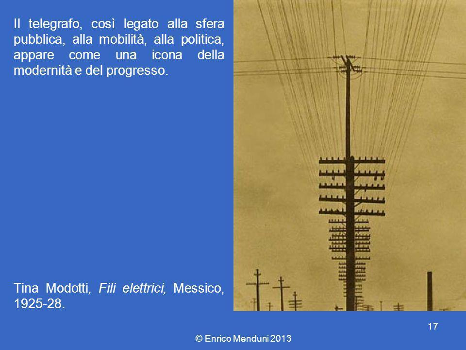 Il telegrafo, così legato alla sfera pubblica, alla mobilità, alla politica, appare come una icona della modernità e del progresso. Tina Modotti, Fili