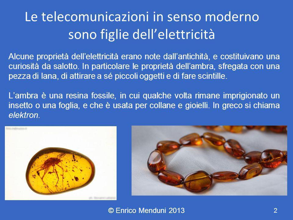 Le telecomunicazioni in senso moderno sono figlie dellelettricità Alcune proprietà dellelettricità erano note dallantichità, e costituivano una curios