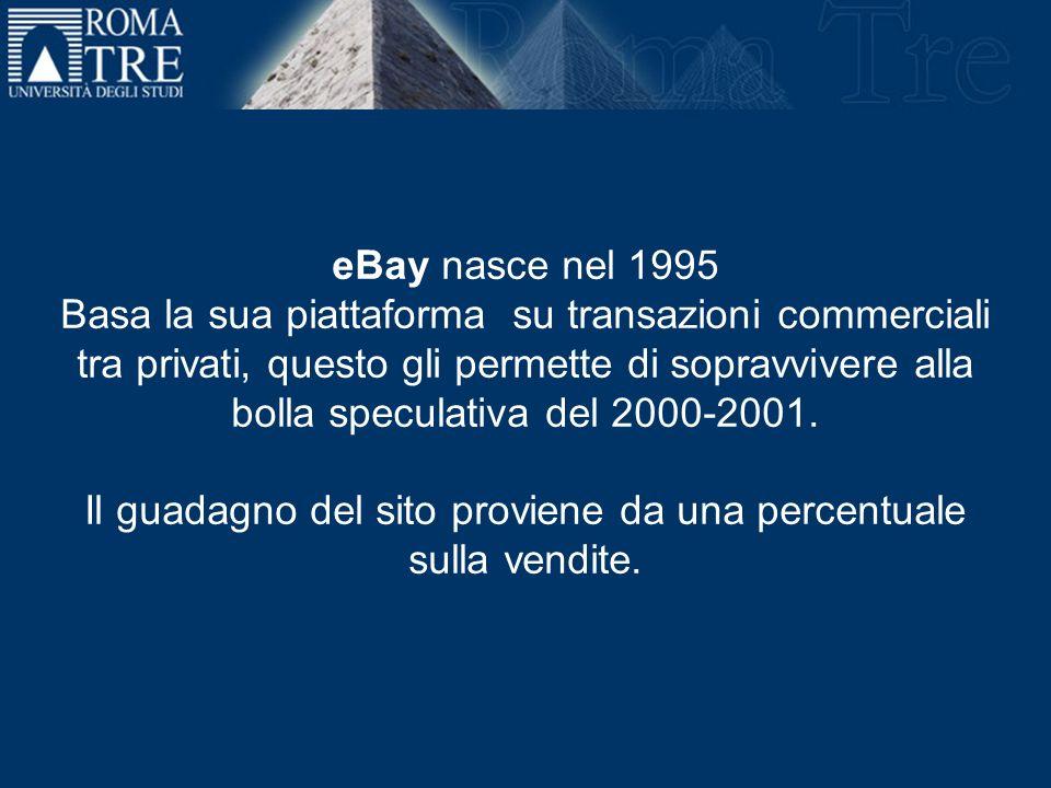 eBay nasce nel 1995 Basa la sua piattaforma su transazioni commerciali tra privati, questo gli permette di sopravvivere alla bolla speculativa del 200