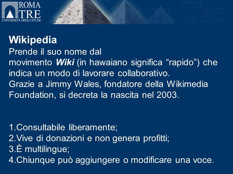 Prende il suo nome dal movimento Wiki (in hawaiano significa rapido) che indica un modo di lavorare collaborativo. Grazie a Jimmy Wales, fondatore del