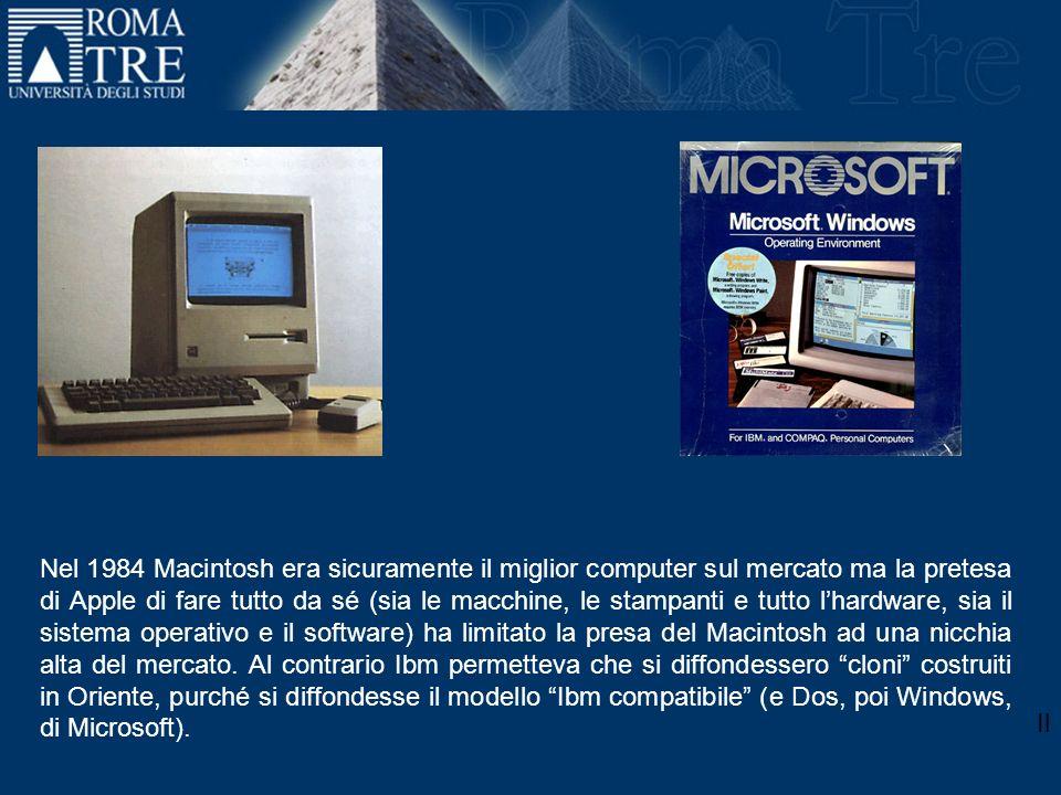 Il March 2000 September 11, 2001 Nel 1984 Macintosh era sicuramente il miglior computer sul mercato ma la pretesa di Apple di fare tutto da sé (sia le macchine, le stampanti e tutto lhardware, sia il sistema operativo e il software) ha limitato la presa del Macintosh ad una nicchia alta del mercato.