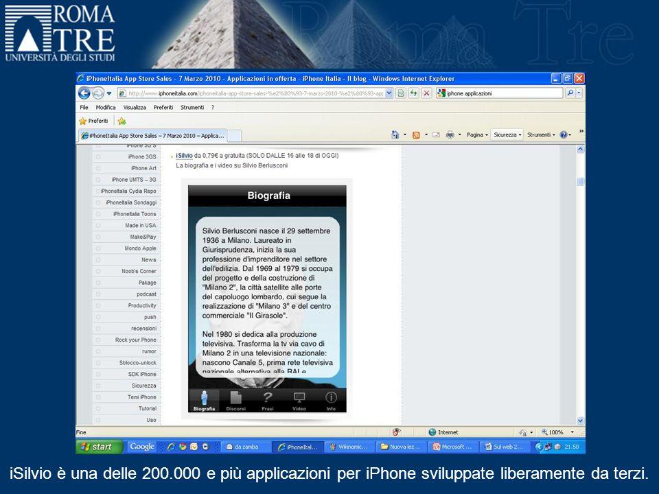 iSilvio è una delle 200.000 e più applicazioni per iPhone sviluppate liberamente da terzi.