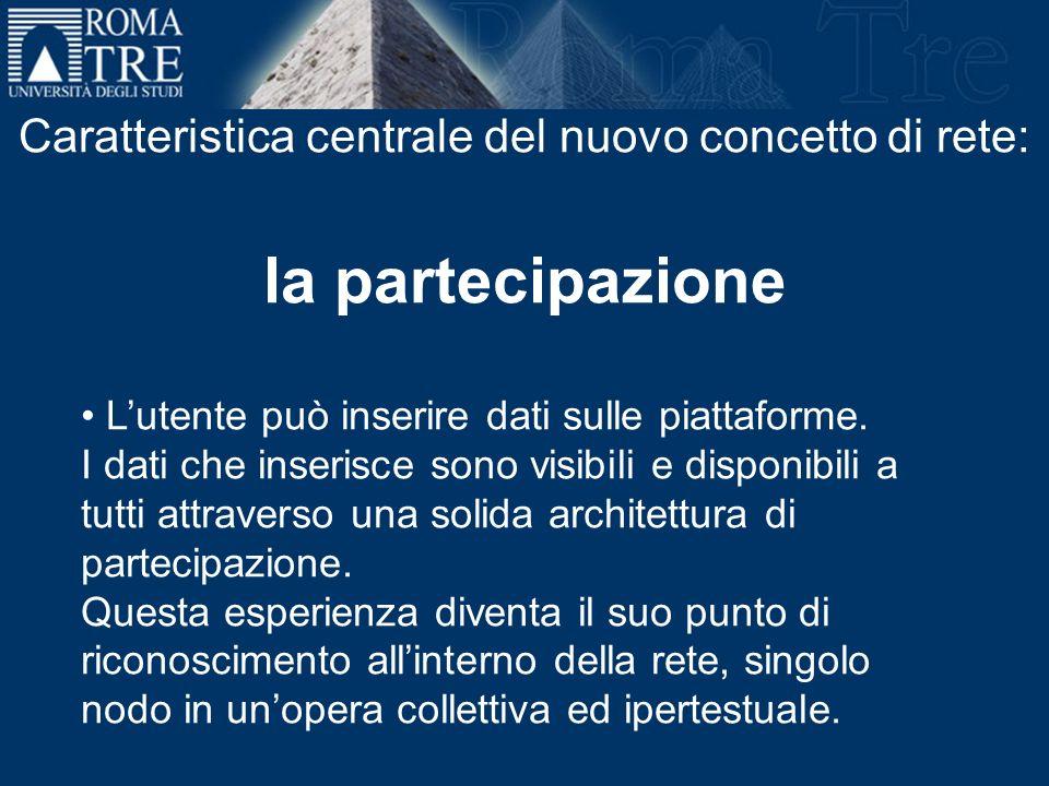 Caratteristica centrale del nuovo concetto di rete: la partecipazione Lutente può inserire dati sulle piattaforme. I dati che inserisce sono visibili