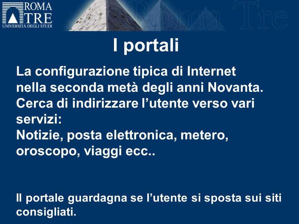 La configurazione tipica di Internet nella seconda metà degli anni Novanta. Cerca di indirizzare lutente verso vari servizi: Notizie, posta elettronic