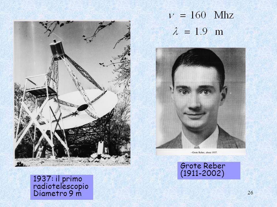 1937: il primo radiotelescopio Diametro 9 m Grote Reber (1911-2002) 26