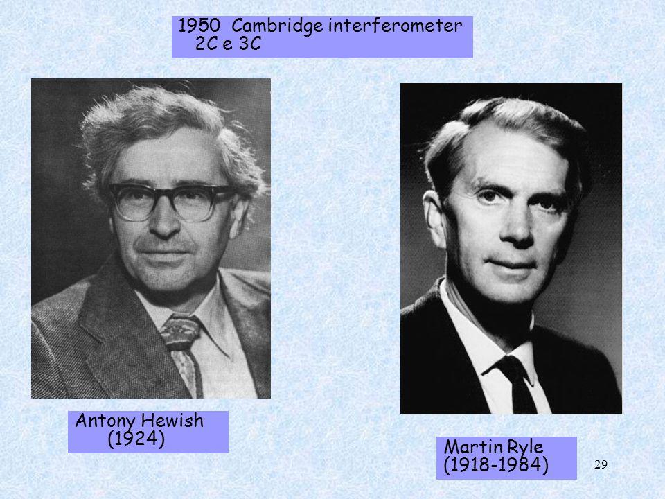 1950 Cambridge interferometer 2C e 3C Antony Hewish (1924) Martin Ryle (1918-1984) 29
