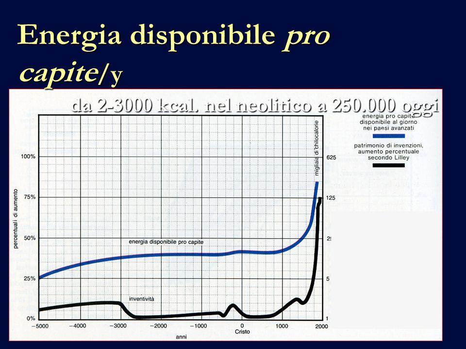 Energia disponibile pro capite /y da 2-3000 kcal. nel neolitico a 250.000 oggi