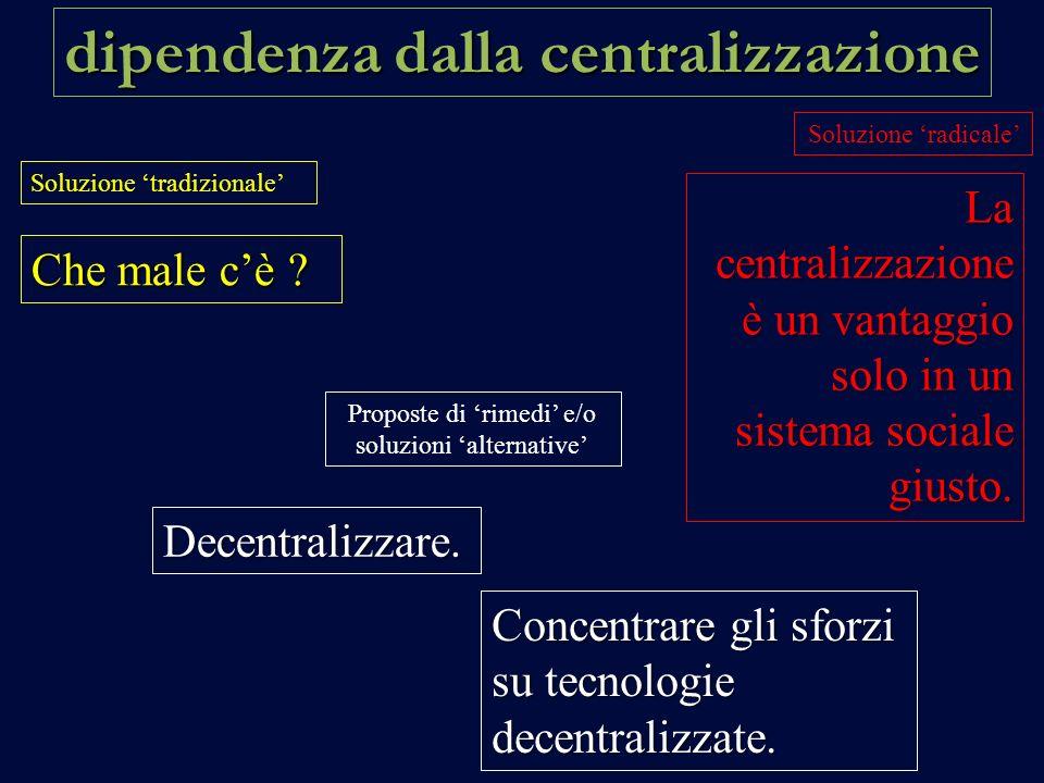 dipendenza dalla centralizzazione Soluzione tradizionale Soluzione radicale Proposte di rimedi e/o soluzioni alternative Che male cè .