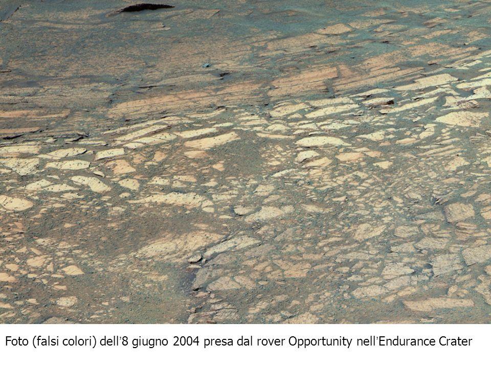 Foto (falsi colori) dell 8 giugno 2004 presa dal rover Opportunity nell Endurance Crater