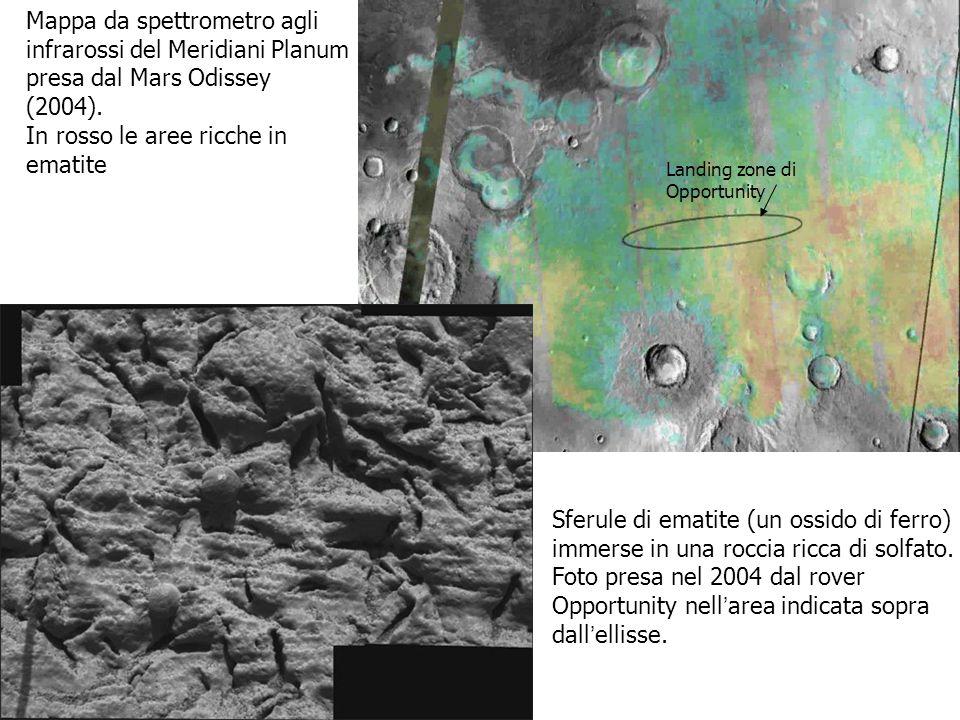 Mappa da spettrometro agli infrarossi del Meridiani Planum presa dal Mars Odissey (2004). In rosso le aree ricche in ematite Landing zone di Opportuni