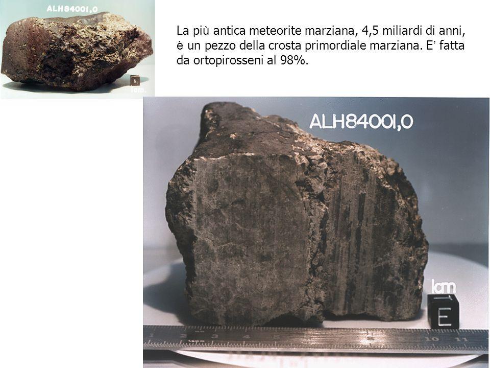 La pi ù antica meteorite marziana, 4,5 miliardi di anni, è un pezzo della crosta primordiale marziana. E fatta da ortopirosseni al 98%.