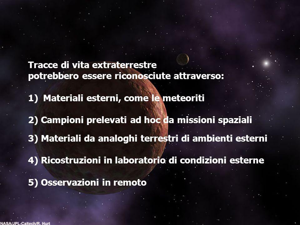 Tracce di vita extraterrestre potrebbero essere riconosciute attraverso: 1)Materiali esterni, come le meteoriti 2) Campioni prelevati ad hoc da missio