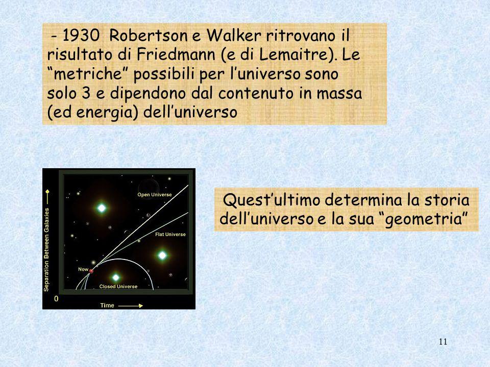 - 1930 Robertson e Walker ritrovano il risultato di Friedmann (e di Lemaitre). Le metriche possibili per luniverso sono solo 3 e dipendono dal contenu